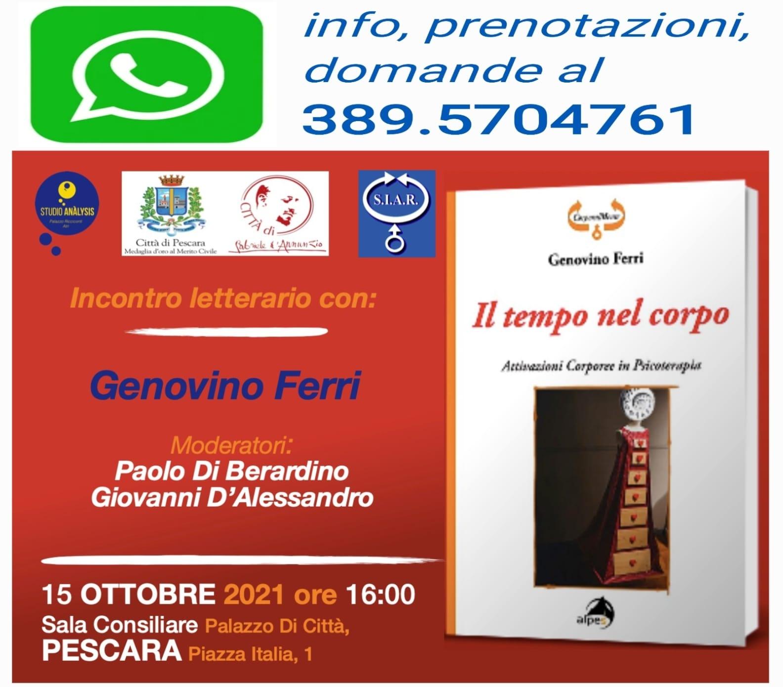 Incontro letterario con Genovino Ferri | Pescara il 15/10/21